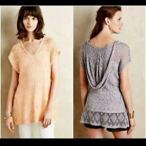 Moth Anthropologie Gray Knitted Hooded Sweater Top